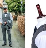 3-piece tweed suit Retro Grey Blue Plaid