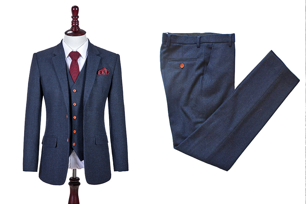 3-piece tweed suit  Classic Navy Barleycorn