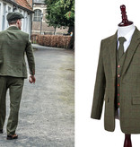 3-piece tweed suit Olive Green Windowpane
