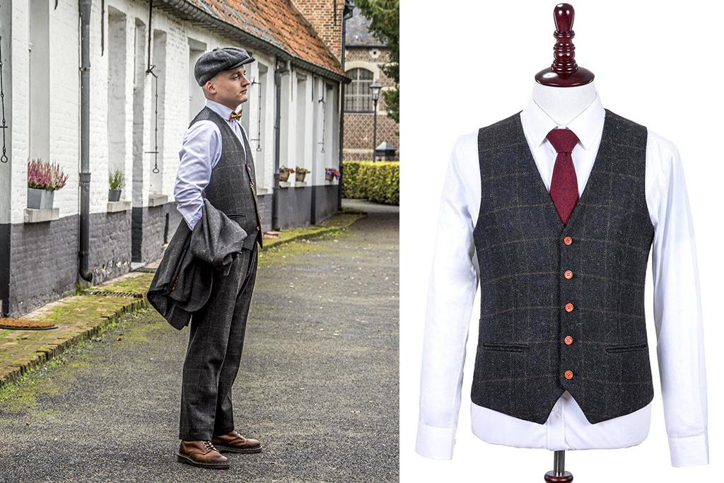 3-piece tweed suit Grey Windowpane Tweed