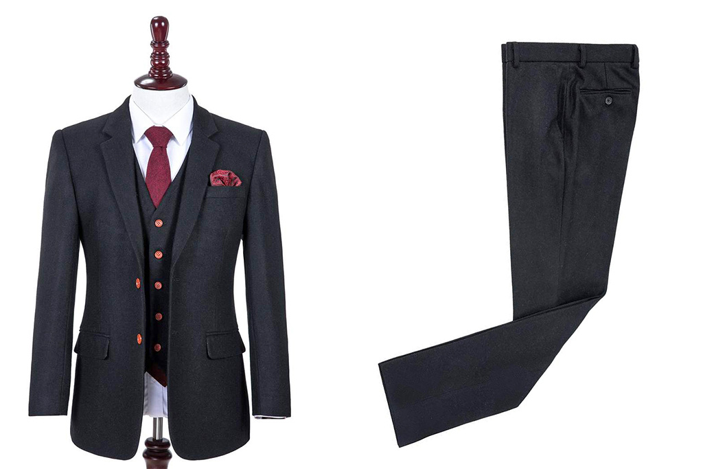 3-piece tweed suit  black wool