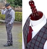 3-piece tweed suit Grey & Red Windowpane tweed suit