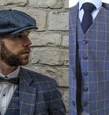 3-piece tweed suit Grey Blue Overcheck Twill Tweed