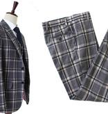 3-piece suit  Grey Crème Windowpane Plaid tweed