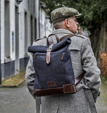 Bonnie - Tweed Roll Top Backpack - Blue/Brown