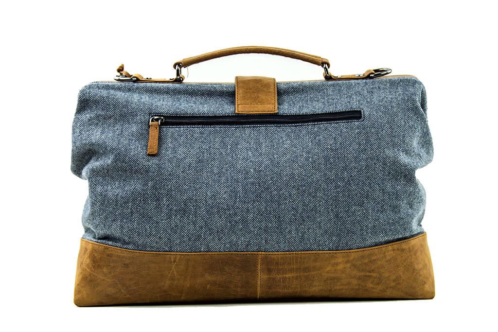 The Gambler - Tweed Duffle Bag - Blue/Beige