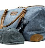 Camden Town - Tweed Duffle Bag - Blue/Beige