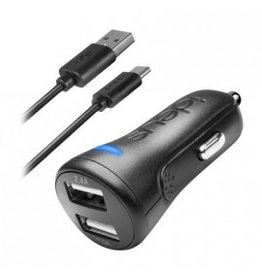 Ideus IDEUS CAR CHARGER DUAL 34 + USB-C CABLE BLACK
