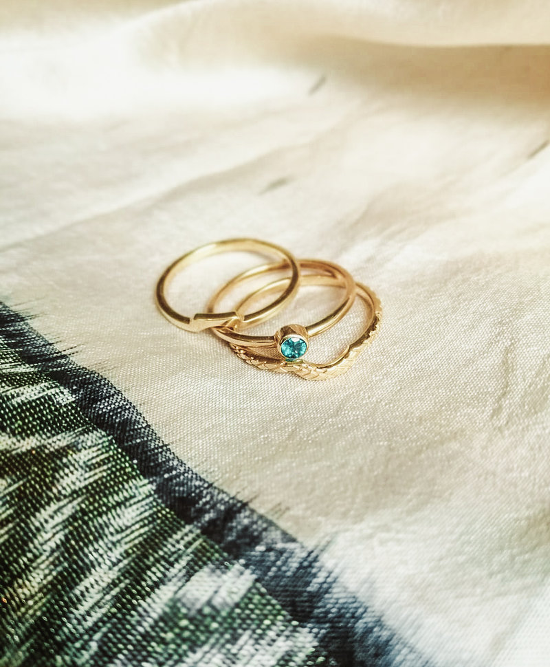 Stackable Snakeskin Ring Evka , Gold Plated