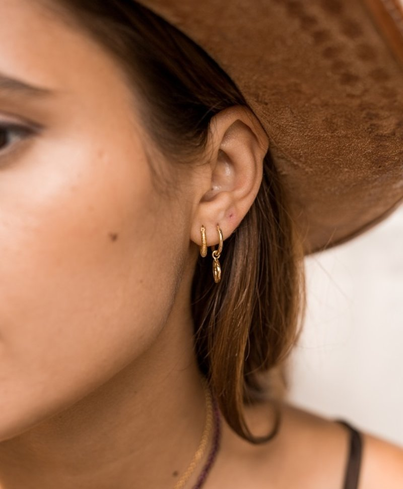 Single Goddess Coin Earring Gaia, Gold Plated