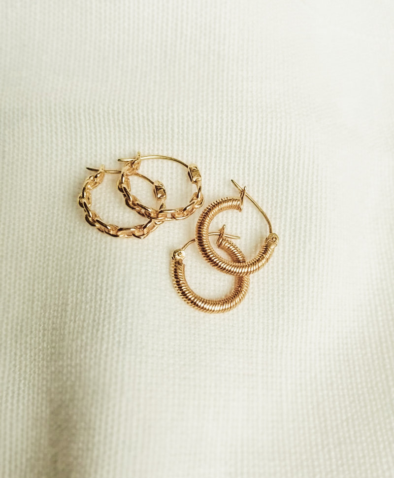 Single Small Chain Hoops Kalina, Gold Plated