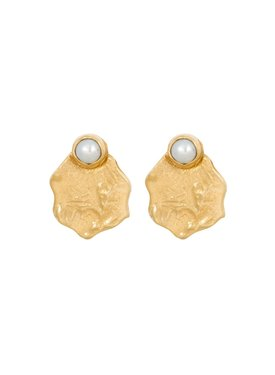 Set Oyster ear studs Olya, gold plated