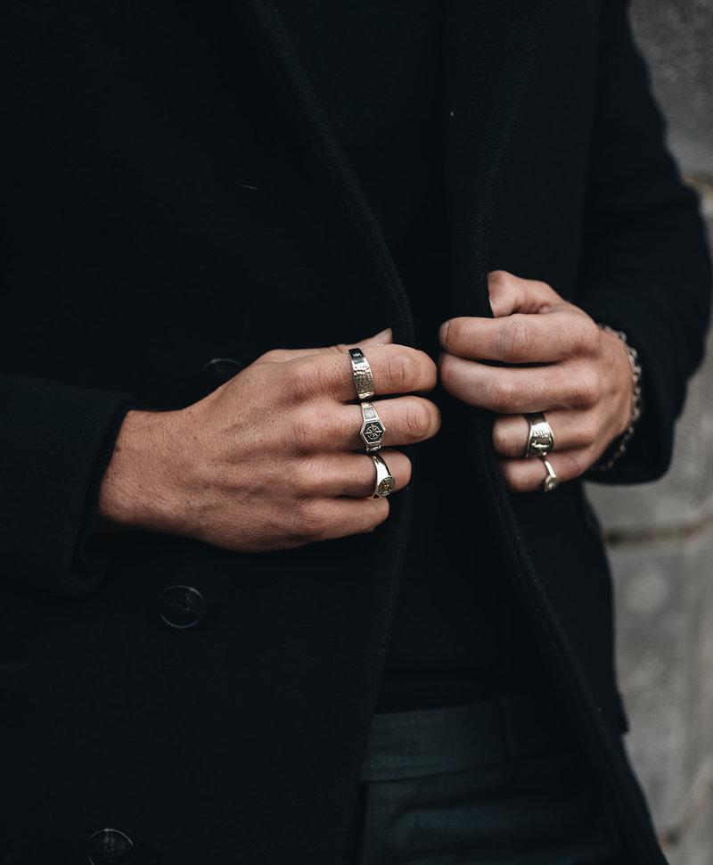 Zilveren Mannen Ring Met Kompas Ohtli