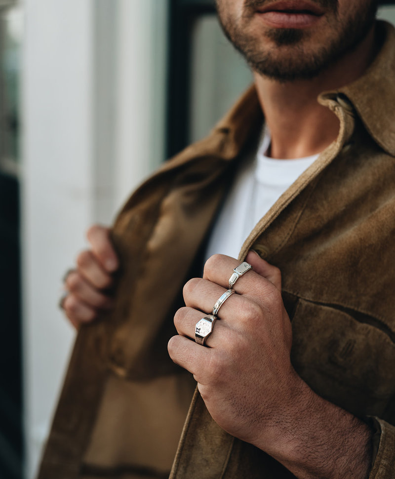 Zilveren Hexagon Mannen Ring Iko