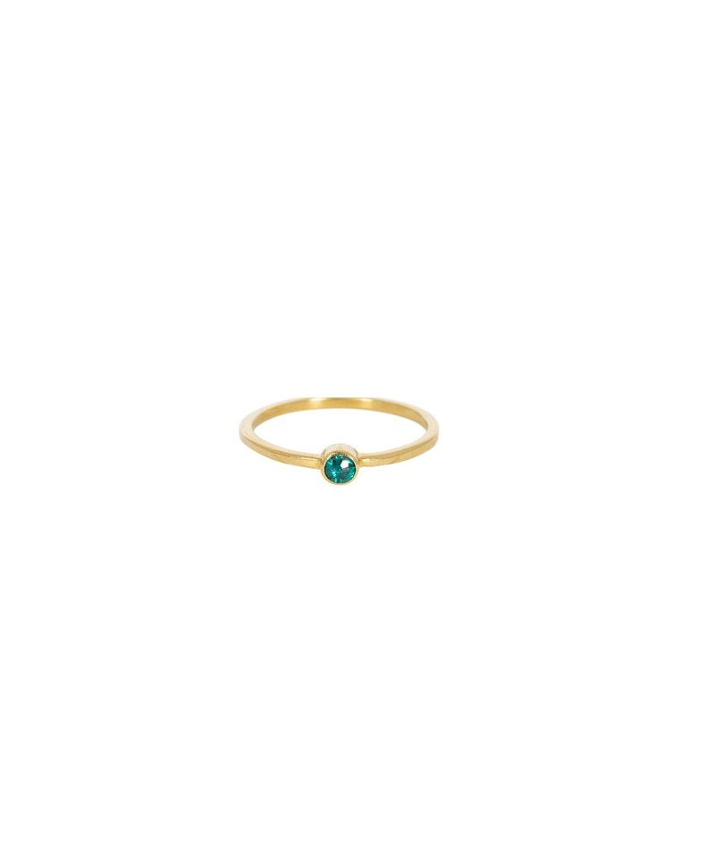 Stackable Green Quartz Ring Keala, Gold Plated