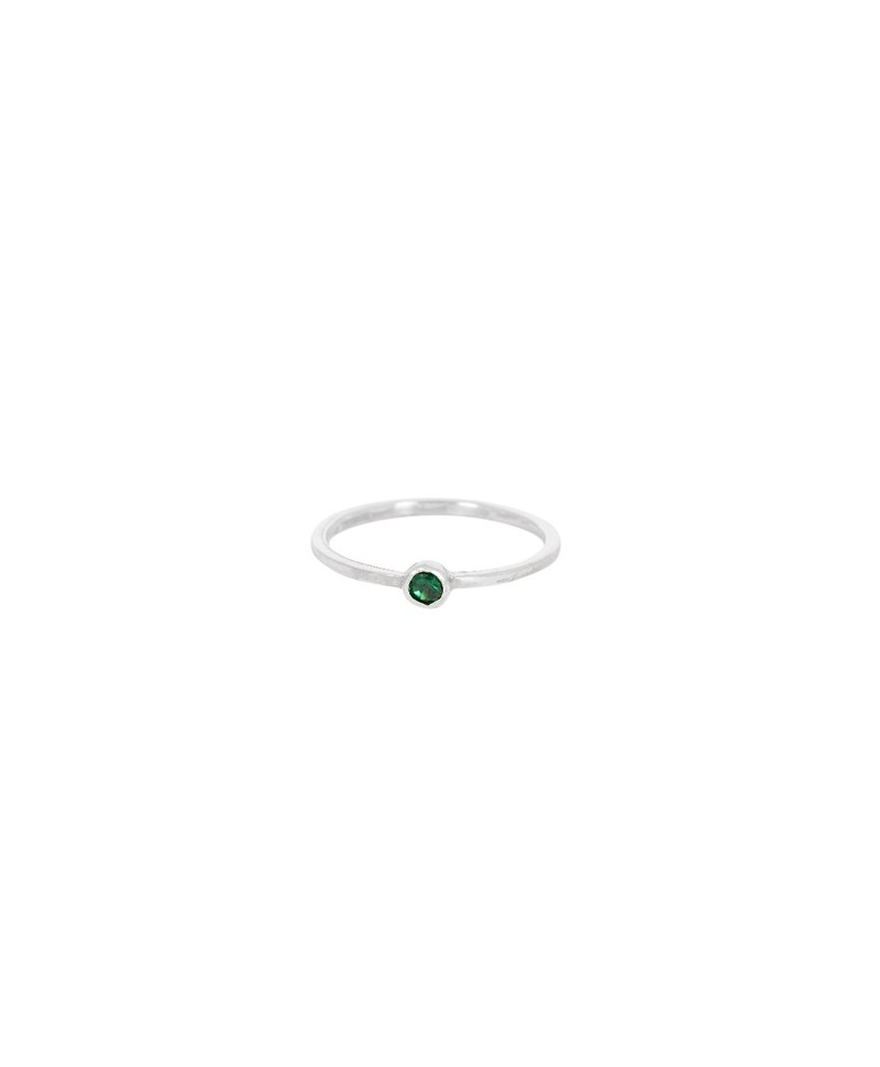 Stackable Green Crystal Ring Keala, Silver