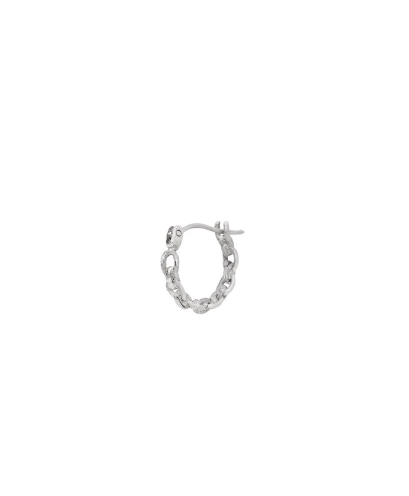 Single small chain hoops Kalina, silver