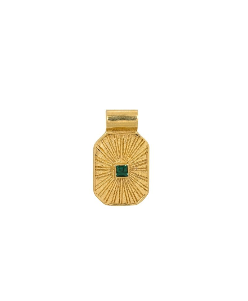 Green Quartz Pendant Chak, Gold Plated