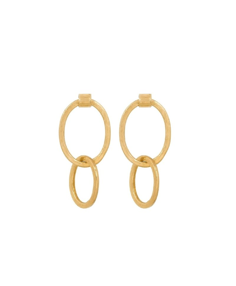 Set Big Chain Earrings Barika, Gold Plated