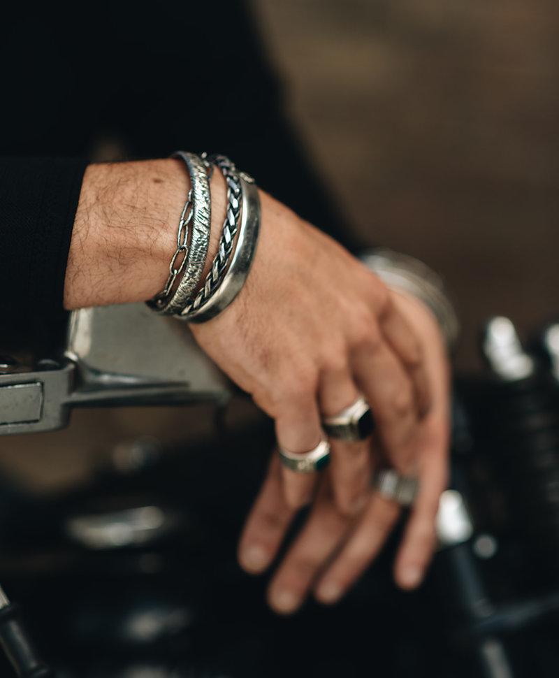 Zilveren Gekraste Cuff Armband Mannen Ozark