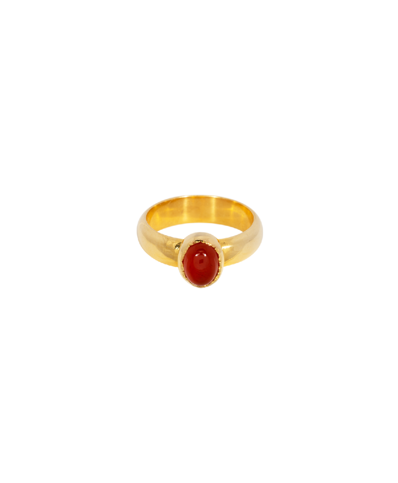 Minimalist Carnelian Ring Aphrodite, Gold Plated