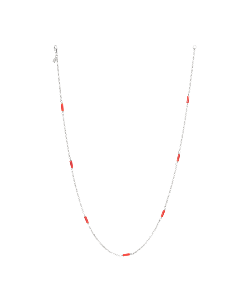 Coral Bead Necklace Rhea, Silver