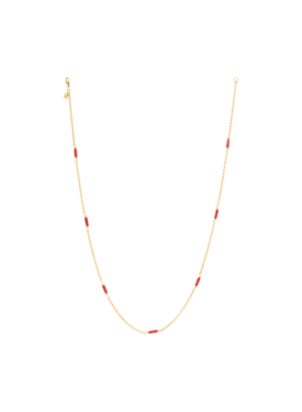 Coral Bead Necklace Rhea, Gold Plated