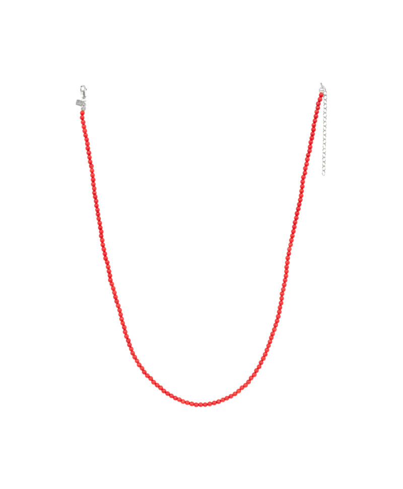 Red Coral Bead Necklace Electra, Silver