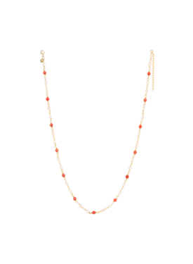 Three-Colored-Bead Necklace Amazon, Gold Plated