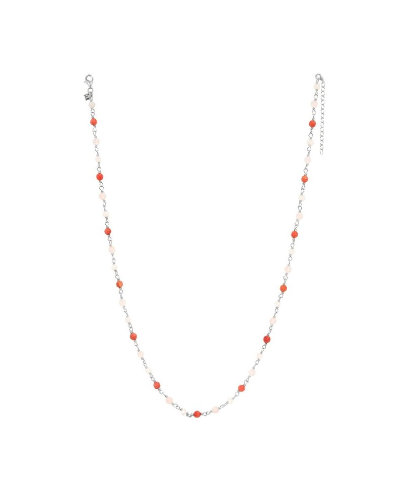Three-Colored-Bead Necklace Amazon, Silver
