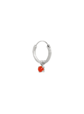 Single Carnelian Earring Harmonia, Silver