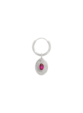 Single Pink Ruby Earring Demeter, Silver