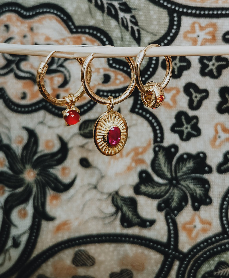 Single Pink Ruby Earring Demeter, Gold Plated