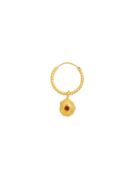 Single Twisted Garnet Earring Nephele, Gold Plated