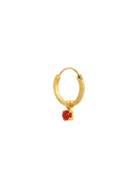 Single Carnelian Earring Harmonia, Gold Plated