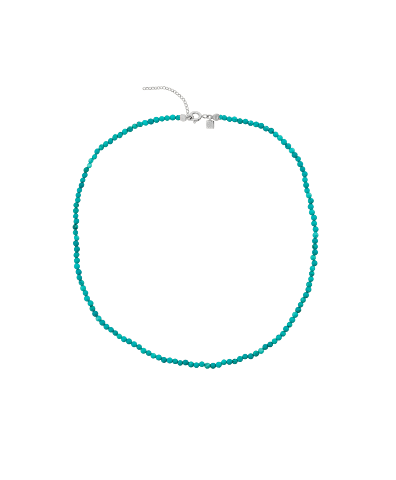 Turquoise Bead Necklace Phaeo, Silver