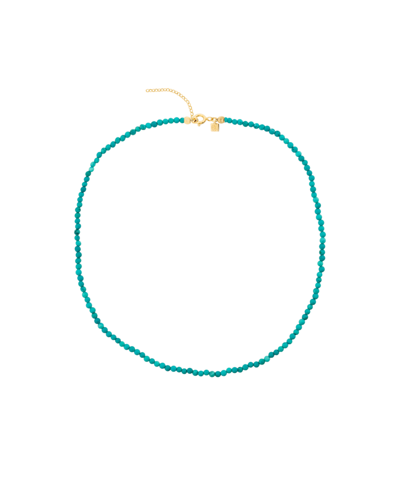 Turquoise Bead Necklace Phaeo, Gold Plated