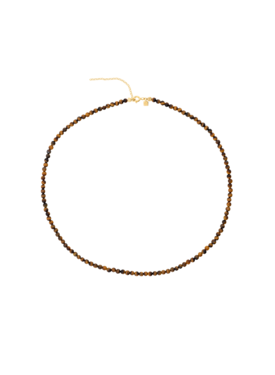 Tiger's Eye Bead Necklace Syrinx, Gold Plated