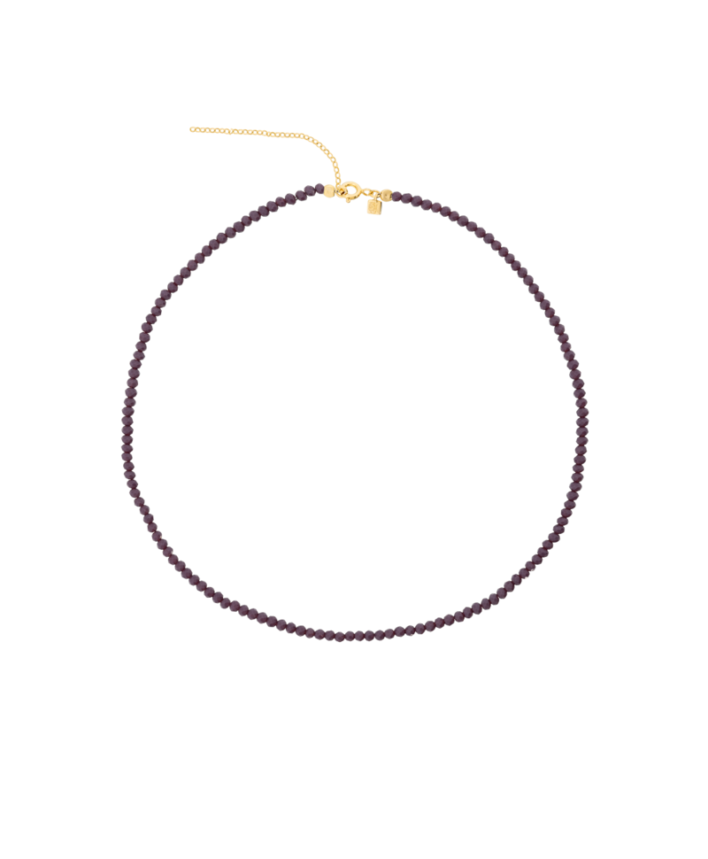 Purple Crystal Bead Necklace Ambriosa, Gold Plated