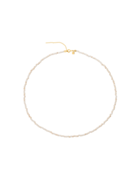 White Turquoise Bead Necklace Lotis, Gold Plated