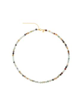 Earthy Mixed Agate Bead Necklace Echo, Gold Plated