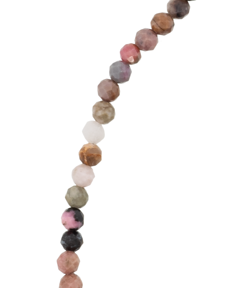 Nude Tourmaline Bead Necklace Melia, Silver