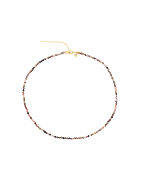Nude Tourmaline Bead Necklace Melia, Gold Plated