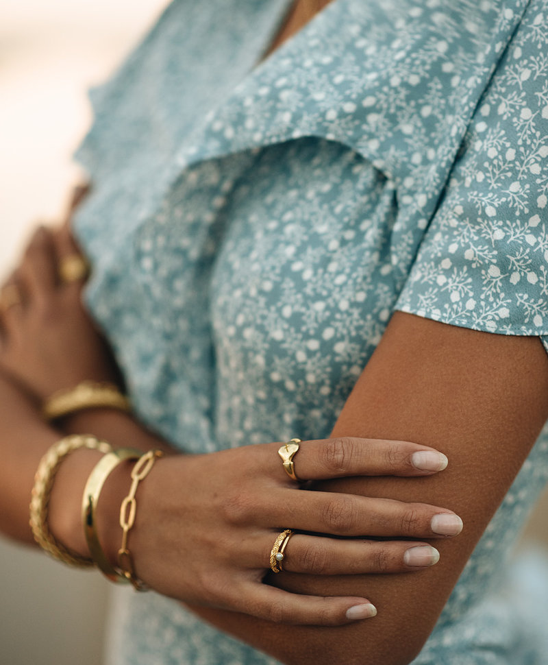 Stackable Pearl Ring Keala, Gold Plated