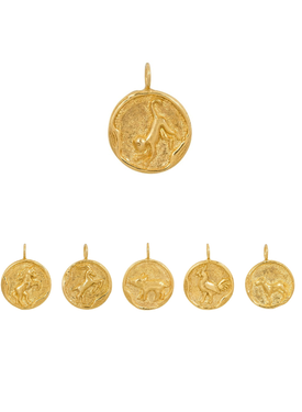 Chinese Zodiac: Horse. Goat, Monkey, Rooster, Dog & Pig, Gold Plated