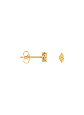 Single Yellow Citrine Stud Kleio, Gold Plated