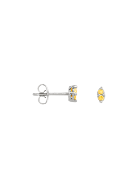Single Yellow Citrine Stud Kleio, Silver