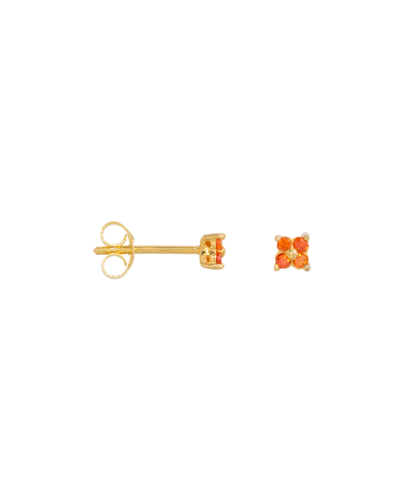 Single Orange Flower Stud Ersa, Gold Plated