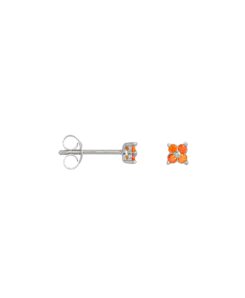 Single Orange Flower Stud Ersa, Silver