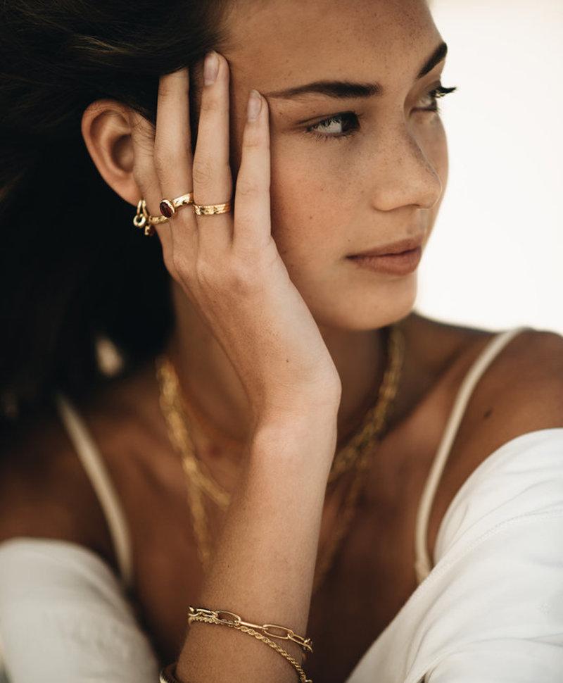 Minimalist Carnelian Ring Aphrodite, Gold Plated
